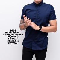 4698 Short Navy Stripe Shoulder Kemeja Pendek Pria