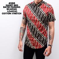 4230 Short Red Batik Parang Kemeja Batik Pendek Pria