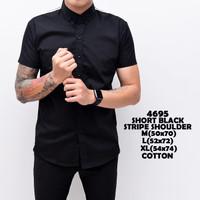 4695 Short Black Stripe Shoulder Kemeja Pendek Pria