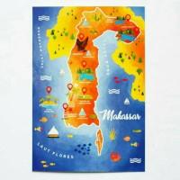 MAKASSAR PETA MAP CARD INDONESIA ILUSTRASI KARTU POS POSTCARD SURAT