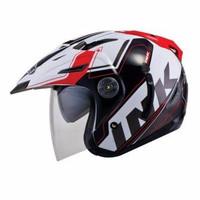 Helm INK T1 Putih Merah Double Visor Half Face