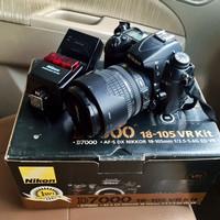 Nikon D7000 with lens kit 18-105 & flash nikon SB600
