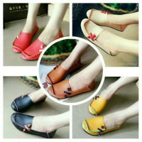 Jual sandal sepatu wanita flat kulit sintetis import Murah