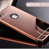 Jual IPhone 5/5S/SE Casing Mirror Case Aluminum Bumper Free Tempered Glass Murah