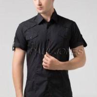 Harga recomended pakaian kemeja pria lengan pendek bahan street hitam | antitipu.com