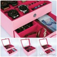 Box Jam JUMBO isi 6 Mix Cincin Kalung PINK / Kotak Tempat jam
