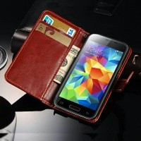 Samsung Galaxy S5 Mini Retro Wallet L:eather Kulit Casing