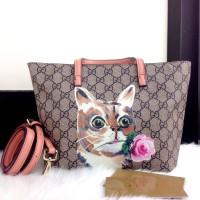 Tas Gucci Tote GG Supreme PINK PEACH CAT 6021