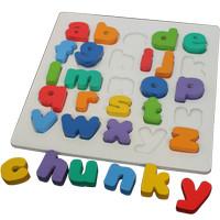 Mainan Edukasi Puzzle Kayu Chunky Alphabet Huruf Kecil SNI