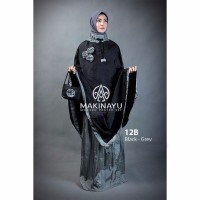 Mukena Parasut Makinayu Black Grey Limited