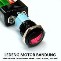 Saklar On Off Logo Honda / Yamaha Lampu Led Merah Tombol Nikel 16mm