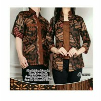 Couple Atasan Black Island Blouse Batik-Coklat