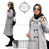 Long Coat Korea Jaket Muslimah Believe BJM 13 Grey