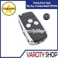 Casing Kunci Lipat Flip Key 3 tombol untuk mobil TOYOTA Innova, dll