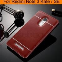 Metal Bumper Leather Back Case Cover - Xiaomi Redmi Note 3 Kate / Se