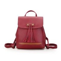 Tas Wanita Import C91787 Red Backpack Ransel Fringe Rumbai Vintage H&M