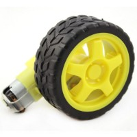 Roda + Motor Gearbox Smart Car Robot Tyre 1:48 Gear Ratio Ban Kuning