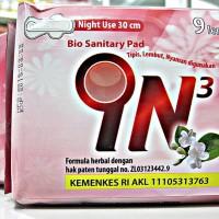 IN3 NIGHT USE   BIO SANITARY PAD   9 lembar