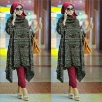 Baju Busana Muslim Wanita Setelan Hijab Tribal Maroon Sett 3in1