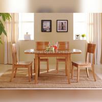Kursi & Meja Makan Kayu Jati Minimalis Natural Furniture Asli Jepara