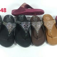 LBE55B new era sandal jepit wanita cewek karet tali permata