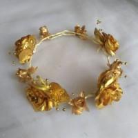 Jual FLower Crown/ Mahkota Bunga Kuncup GOLD ROSE FLOWER By Gabriell Acc Murah
