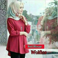 Red Blouse / Baju Atasan Blouse Hijab / Dress Murah / Cardigan Murah