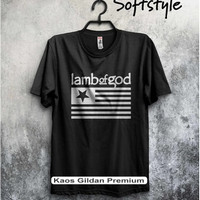 kaos gildan - kaos band metal lamb of god log pure american metal