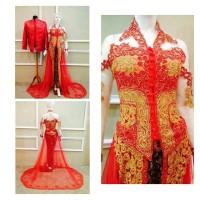 kebaya pengantin couple merah cocok untuk resepsi pernikahan