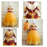 gaun pengantin couple gold murah cantik mewah untuk resepsi pernikahan