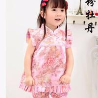 Jual [termurah] Setelan Cheongsam - Dress Imlek Anak Pink Peony Murah