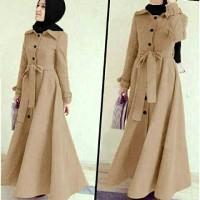 Jual Gamis Muslim Model Coat Bahan Lotto / Maxi Dress Busui Lucu Murah Murah