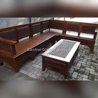 Kursi & Meja Tamu Sudut Kayu Jati Ukir Tutul Minimalis Furniture