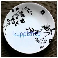 Jual Piring keramik putih tema Kupu2 dan Bunga Murah