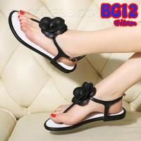 Sandal Jepit Teplek Bunga (BG12 Hitam)