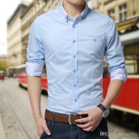 [MR softblue OT] kemeja pria katun stretch biru muda