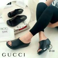 MURAH BANGET!! Sepatu Sandal Wedges Gucci Black