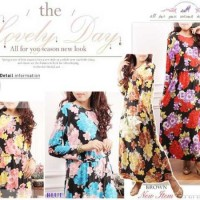 gamis bunga shabby chic baju muslim maxi dress longdress real pict