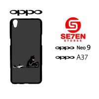 Custom Casing HP Oppo Neo 9 (A37) Black cat officer Hardcase Cover