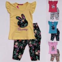 Baju Setelan Anak Perempuan Cewek Kelinci Celana Bunga Shabby Chic
