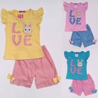 Baju Setelan Anak Perempuan Cewek Kelinci Love Celana Kotak
