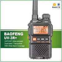Baofeng Walkie Talkie Dual Band 3W 99CH UHF+VHF - UV-3R Plus - Black