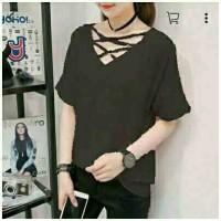 Busana Pakaian Baju Wanita Clothing Twis Black Line Cross MURAH