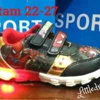 Jual sepatu spiderman lampu (size:22-33)#sepatu anak laki #sepatu superman Murah
