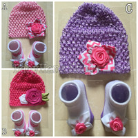 Jual Topi set kaos kaki baby girl / turban bunga bayi / set baby hat socks Murah