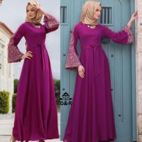 NEW [gamis wardani DR] baju muslim wanita katun rayon ungu Murah