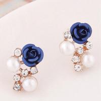 Jual Anting Mini Bunga Mutiara Pearl Pesta Tusuk Dior Pompom Mawar Emas Murah
