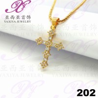 Liontin Salib permata Perhiasan imitsai Gold 18k Yaxiya Jewelry 202