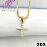 Liontin Salib permata (s) Perhiasan imitsai Gold18k Yaxiya Jewelry 203
