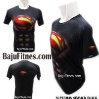 Jual Baju Kaos Pria Gym Mma Fitnes - Superman Sixpack Black Murah